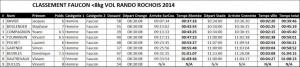 Classement Vol Rando Faucon